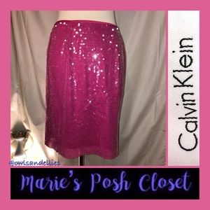 Bright Pink Sequin Covered Skirt